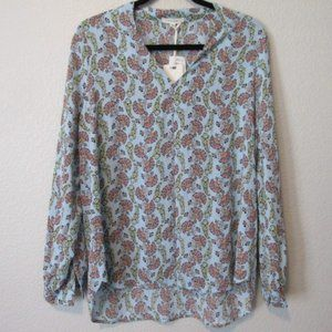NWT Pleione Floral Long Sleeve V-neck Chiffon Blouse High Low NEW with Tags Med